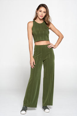 Olive Knit Palazzo Pants with Striped Detail