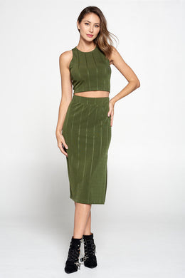 Olive Knit Midi Skirt with Striped Detail