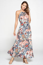 Print Halter Neck Maxi Dress