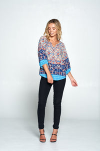 NAVY PAISLEY PRINT 3/4 SLEEVE TOP