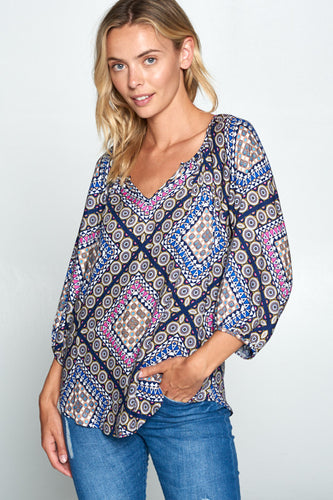 NAVY BOHO PRINT V-NECK TOP