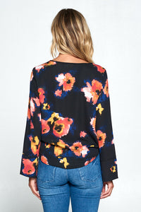 Floral Print Top with Front Tie