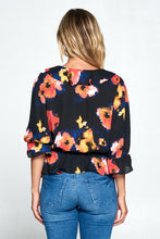 Floral Print 3/4 Sleeve with Elastic Waist