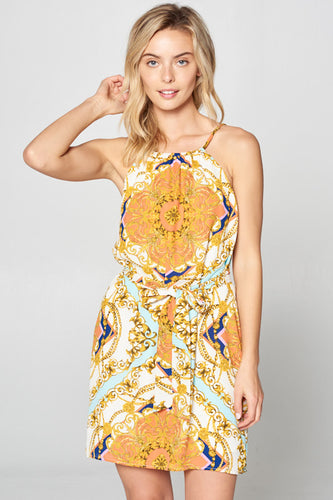 SLEEVELESS PRINT DRESS WITH WAIST TIE