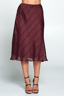 Wine Midi Skirt with Metallic Detail