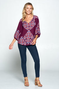 Plum Paisley Print V-neck 3/3 Sleeve Top