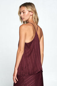 WINE SLEEVELESS TOP WITH METALLIC DETAIL