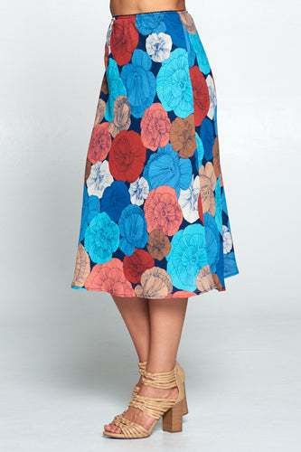 MULTI COLORED FLORAL MIDI SKIRT