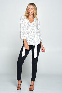 Star Print Tie Neck Top