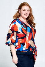 PRINT SHORT SLEEVE TOP WITH BUTTONS AND FRONT TIE  - PLUS SIZE
