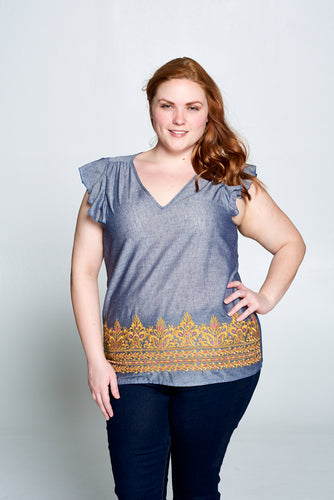 V-NECK SHORT SLEEVE RUFFLE TOP - PLUS SIZE
