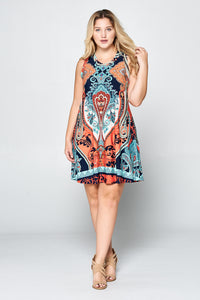 PRINT RACERBACK DRESS - PLUS SIZE