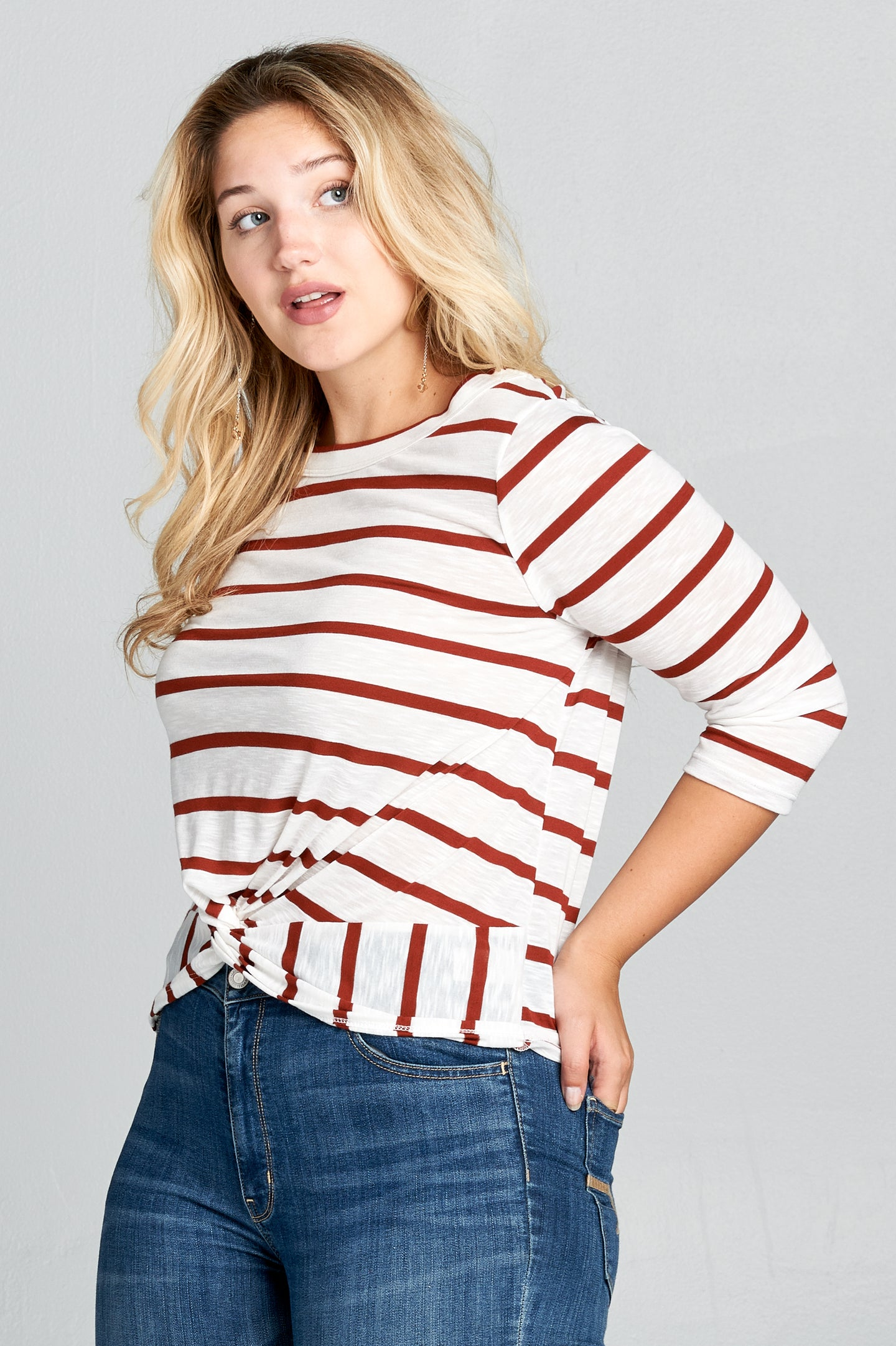 Plus Size - Striped 3/4 Sleeve Top with Knot