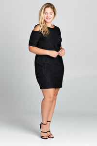 SHORT SLEEVE COLD SHOULDER MINI DRESS - PLUS SIZE