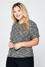 SHORT SLEEVE KNIT TOP - PLUS SIZE