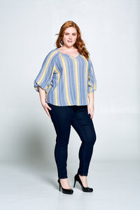 STRIPED 3/4 SLEEVE V-NECK TOP - PLUS SIZE