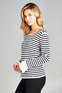 STRIPED BOAT NECK TOP WITH BELL RUFFLE SLEEVES