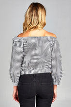 PINSTRIPED OFF THE SHOULDER CROP TOP