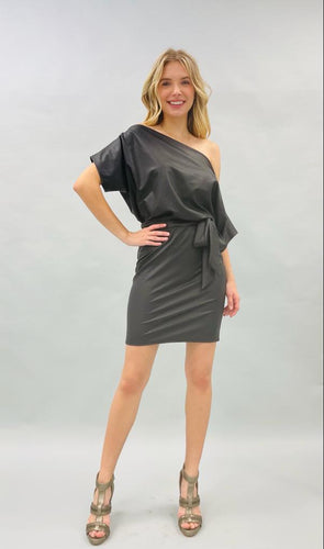 Preorder - Faux Leather Dress with Tie