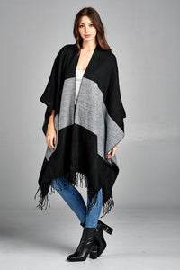COLOR BLOCK PONCHO WRAP WITH OPEN FRONT