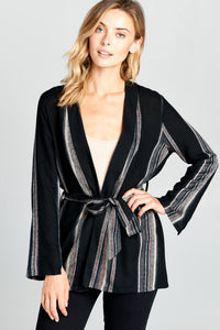 STRIPED LONG SLEEVE LINEN CARDIGAN WITH WAIST TIE