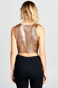 METALLIC CROP TOP