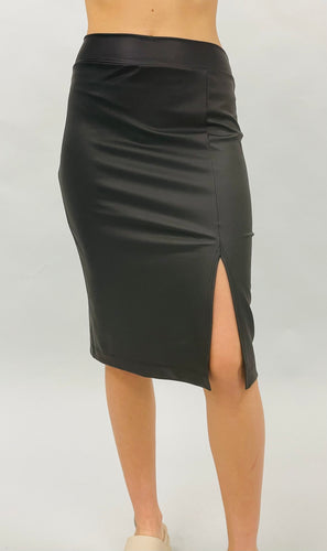 Preorder - Faux Leather Skirt with Slit
