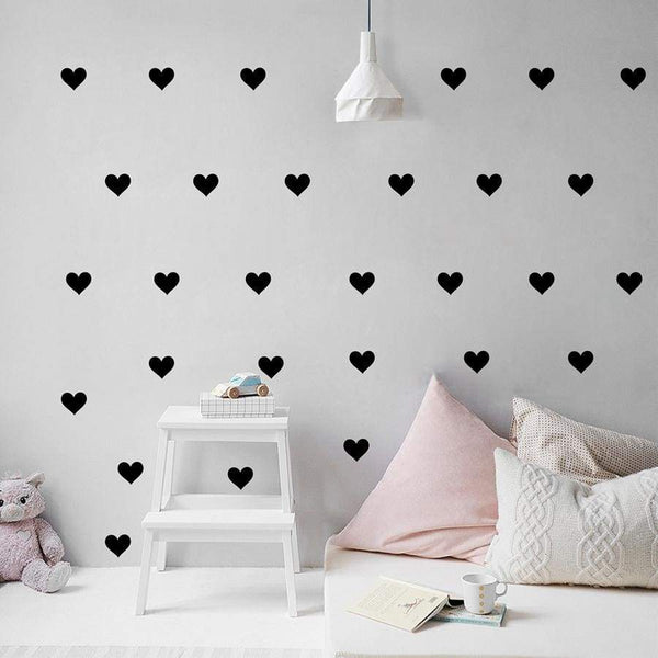 Hearts Wall Decoration Decals - Black / 2.7in| 32pcs - Home Decor Decals