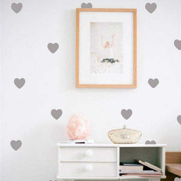 Hearts Wall Decoration Decals - Light Gray / 2.7in| 32pcs - Home Decor Decals