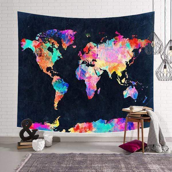 World Map tapestry - Black / 59x51inch - Wall Decor