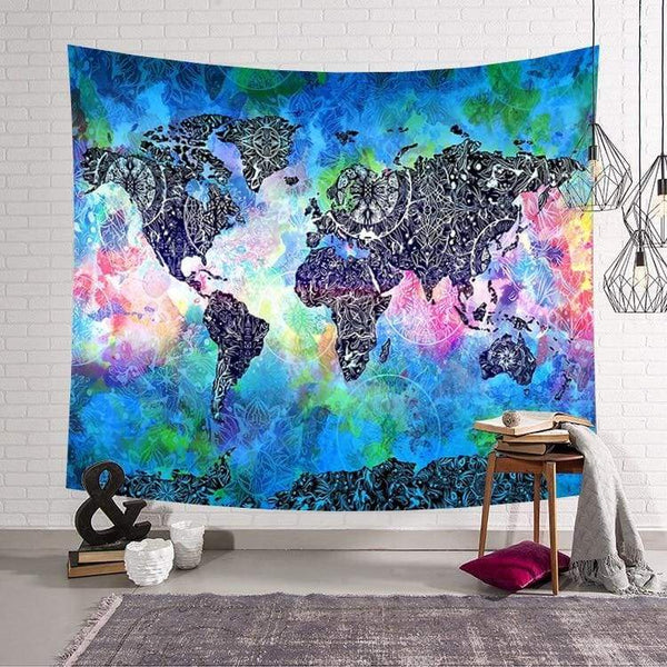 World Map tapestry - Blue / 59x51inch - Wall Decor
