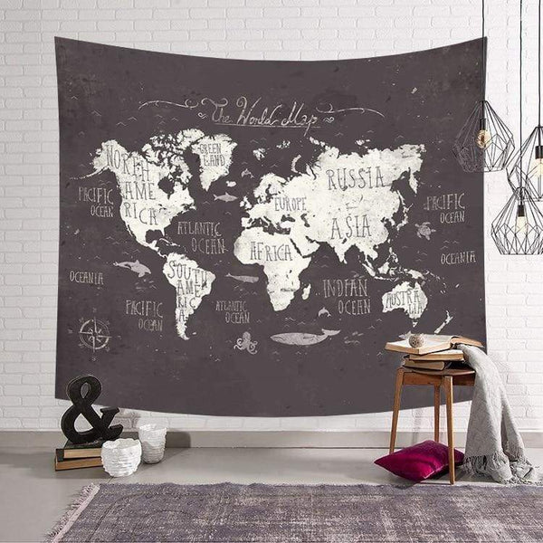 World Map tapestry - Gray / 59x51inch - Wall Decor