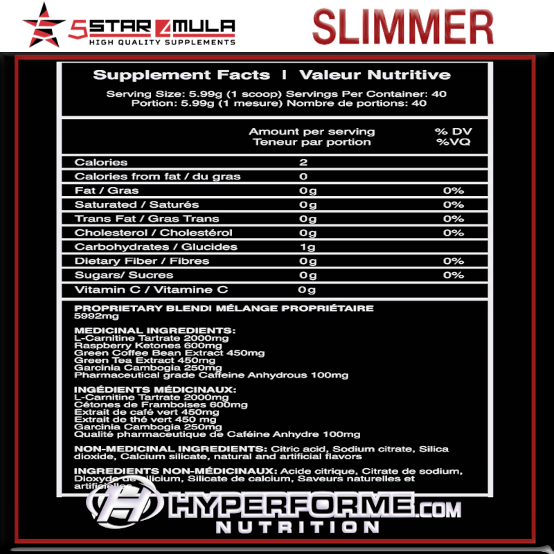5Star4Mula  SLIMMER NUTRITION FACTS (2465833025613)