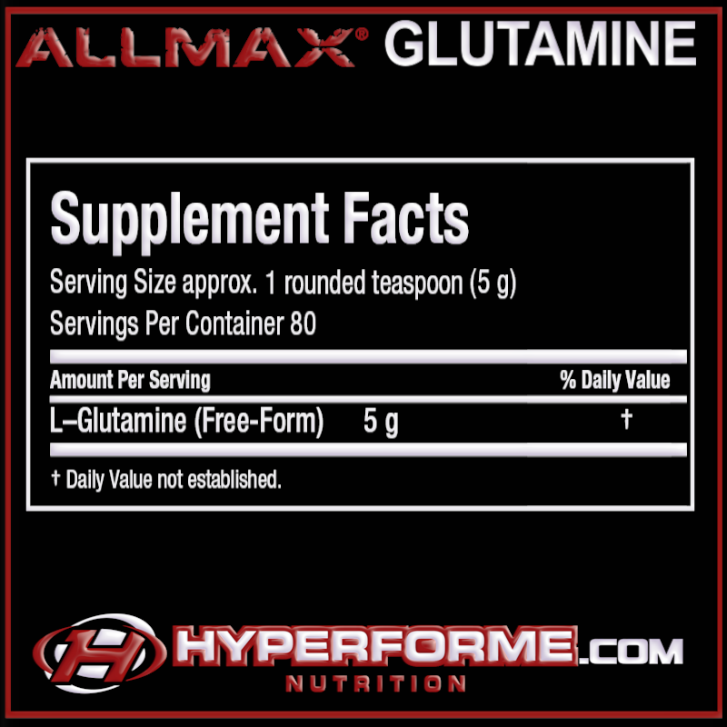 ALLMAX GLUTAMINE NUTRITION FACTS (2465794555981)