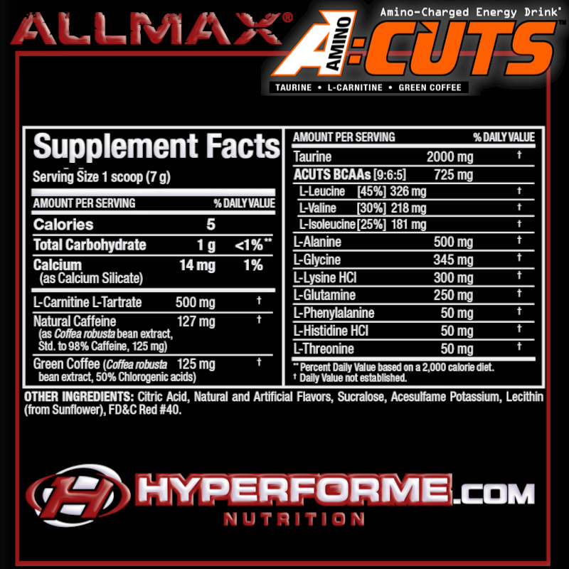 ALLMAX acuts aminocuts NUTRITION FACTS (2465827815501)