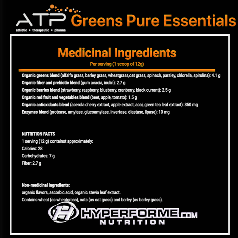 ATP Greens Pure Essentials NUTRITION FACTS INFO (2465841676365)