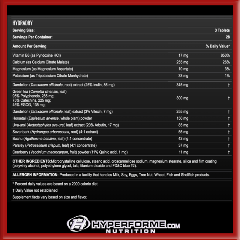 Allmax Hydradry  info nutrition facts