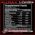 Allmax L-Carnitine liquid nutrition facts info (2465796194381)