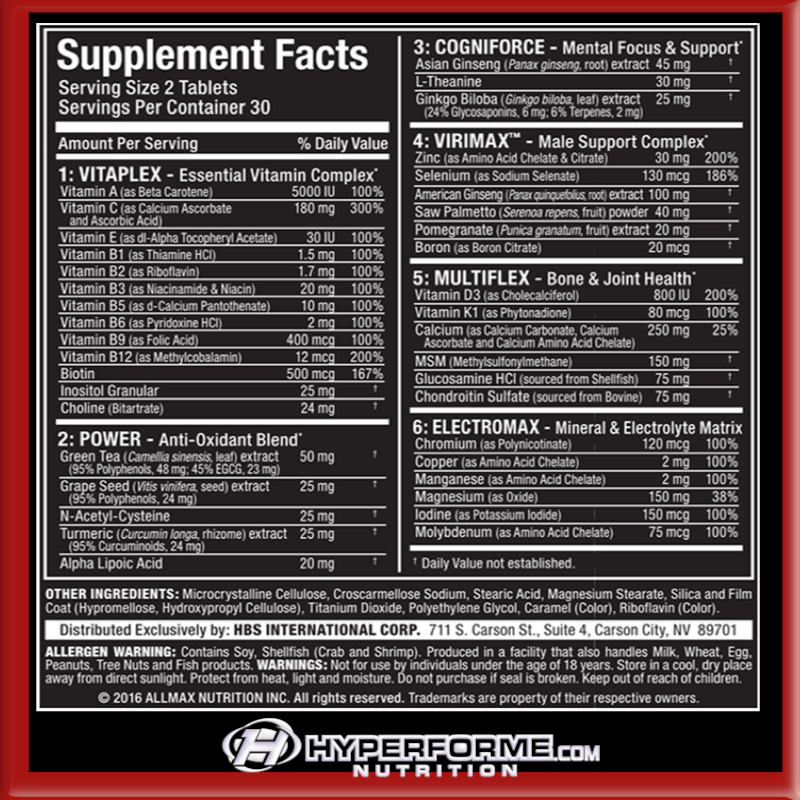 Allmax Vitaform - info nutrition facts (2465797079117)