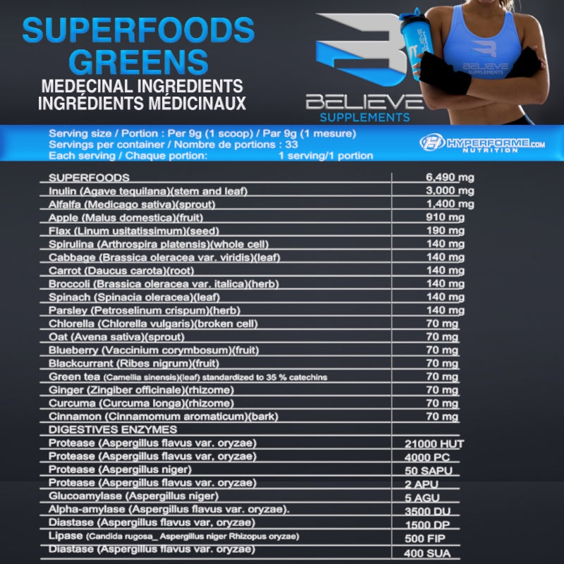 BELIEVE SUPERFOODS GREENS INFO