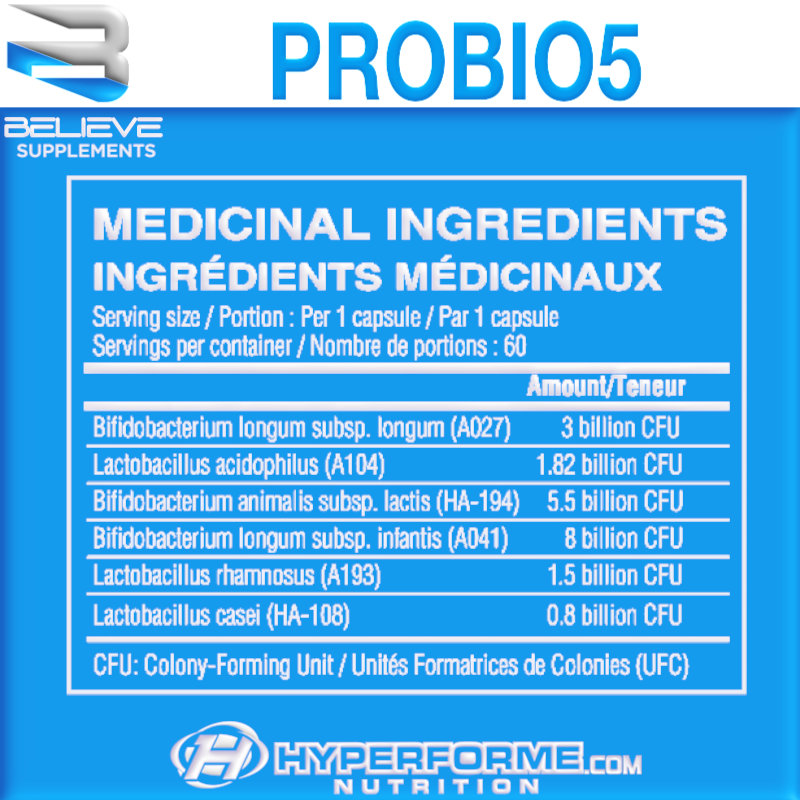BELIEVE PROBIO5 nutrition facts info (2465897054285)