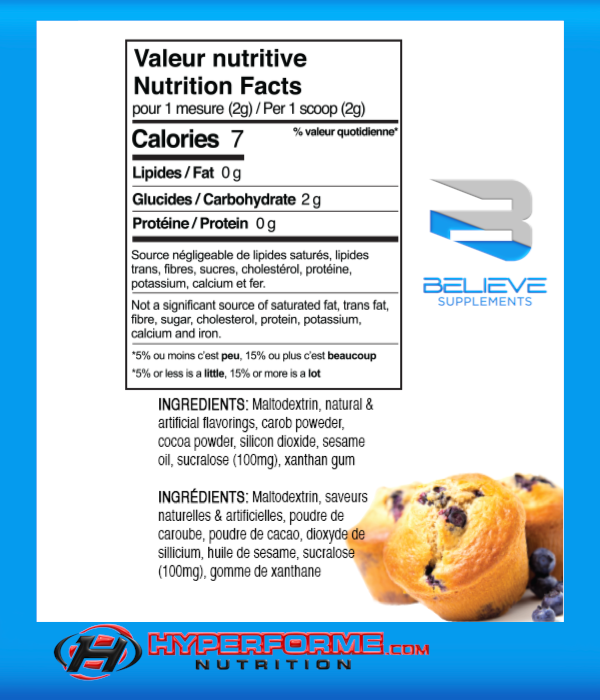 BELIEVE PROTEIN FLAVOR PACK Blueberry Muffin info (2465860321357)