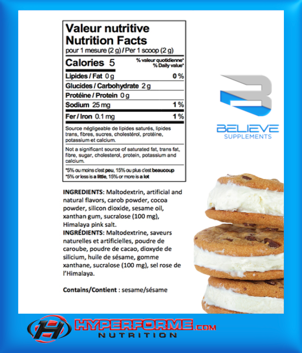 BELIEVE PROTEIN FLAVOR PACK cookies and cream info (2465860321357)