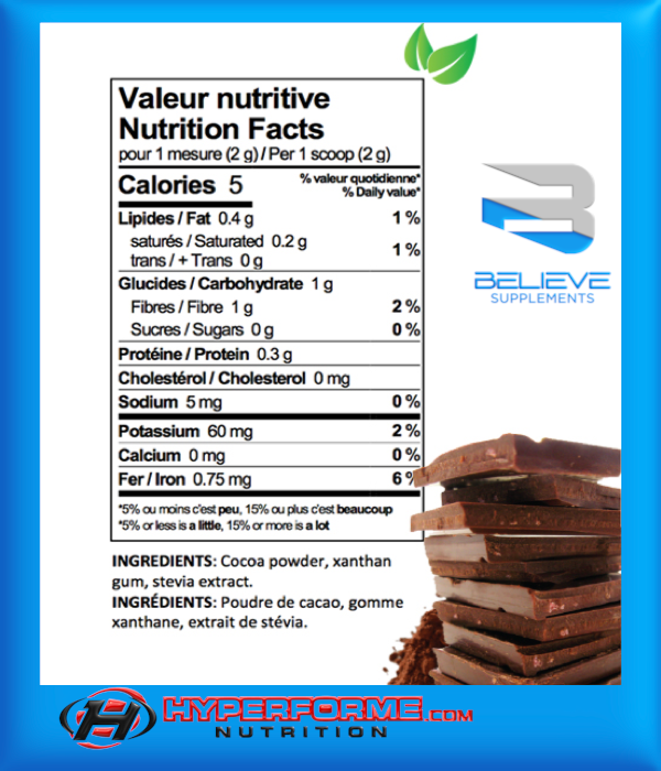BELIEVE PROTEIN FLAVOR PACK natural chocolate  info (2465860321357)