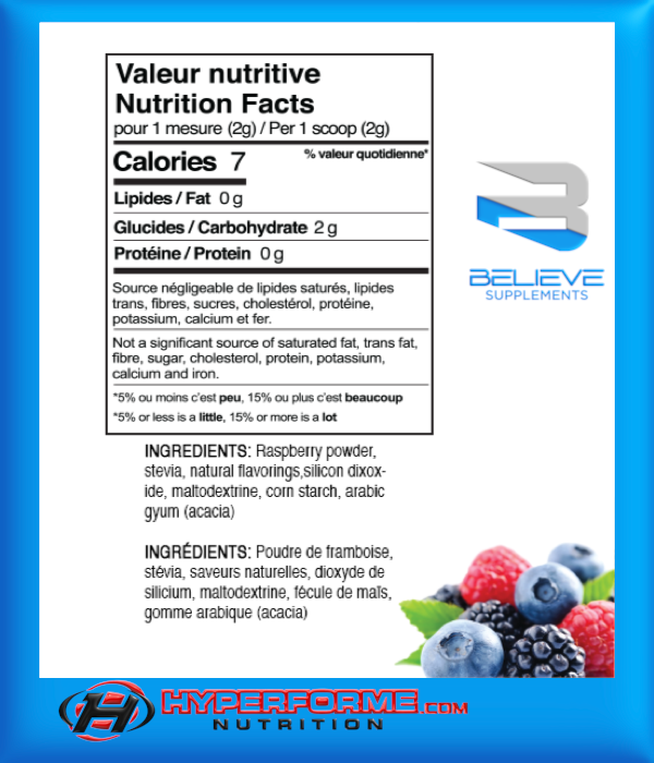BELIEVE PROTEIN FLAVOR PACK natural mixed berries info (2465860321357)