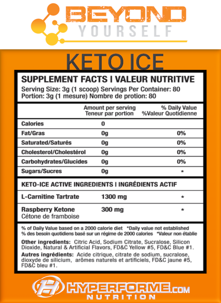 BEYOND YOURSELF KETO ICE INFO NUTRITION FACTS