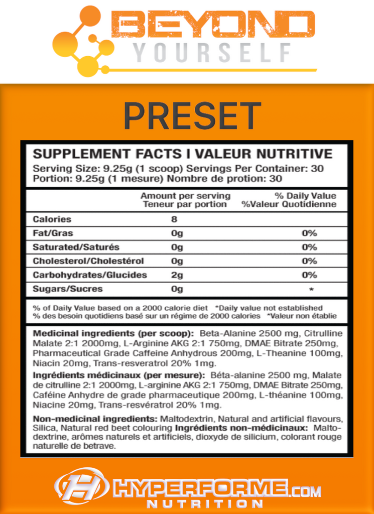 BEYOND YOURSELF PRESET INFO NUTRITION FACTS (2465802453069)