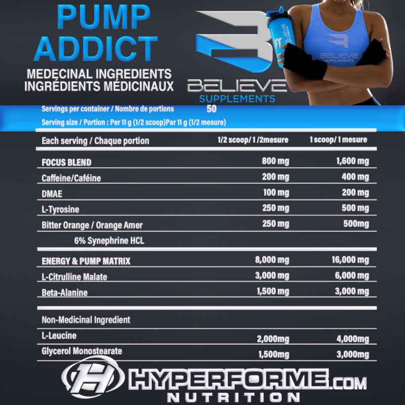 BELIEVE PUMP ADDICT nutrition facts info (2465891090509)