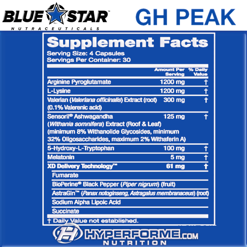 Blue Star GH PEAK NUTRITION FACTS (2465861959757)