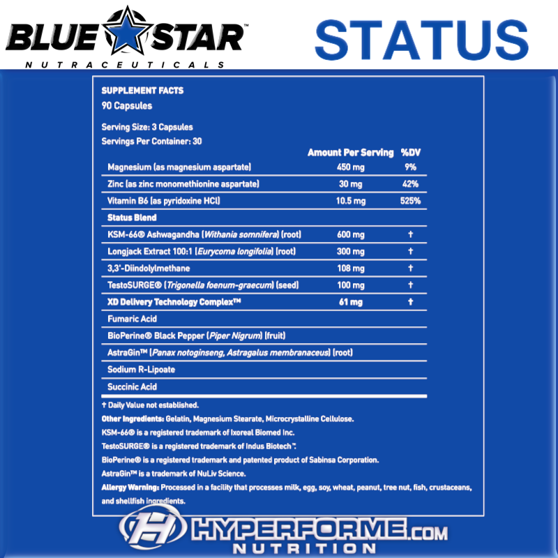 Blue Star STATUS NUTRITION FACTS